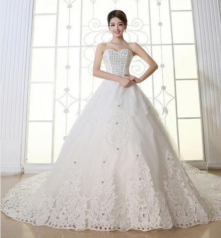 Plus Size Wedding Dress Crystal 100cm Long Train Wedding dress Ivory ...