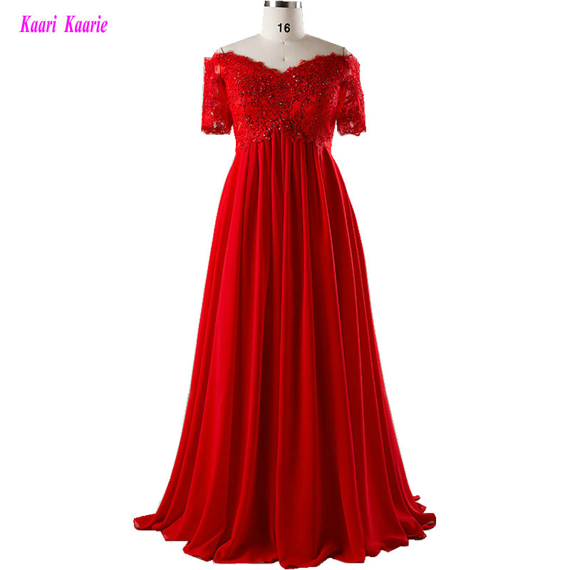 Formal Red Plus Size Evening Dresses Long 2019 Evening Party Gown Sweetheart Chiffon Appliques Beading Lace