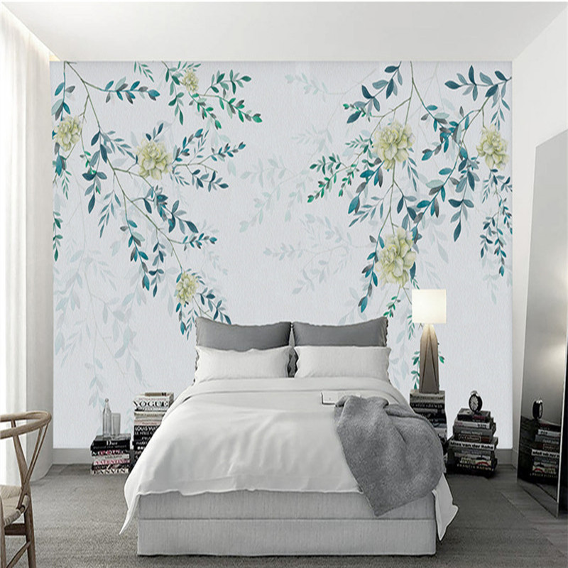 цена на Custom Europea Wallpapers 3D White Flower Photo Wall Murals Hand-painted Leaf Walls Papers for Living Room Bedroom Home Decor
