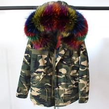2016 women's army green Large raccoon fur collar hooded coat parkas outwear 2 in 1 detachable real fox fur lining winter jacket