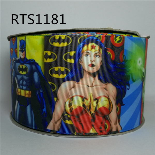 Free shipping 50yard roll 3 inch 75mm cartoon super hero movie character printed grosgrain ribbon RTS1181