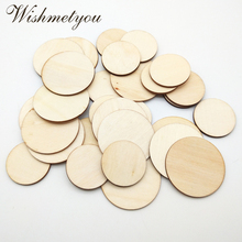 WISHMETYOU 50pcs 30/40mm Natural Round Wooden Slices Unfinished Wood Diy Scrapbooking Embellishment Home Supplies Card Crafts