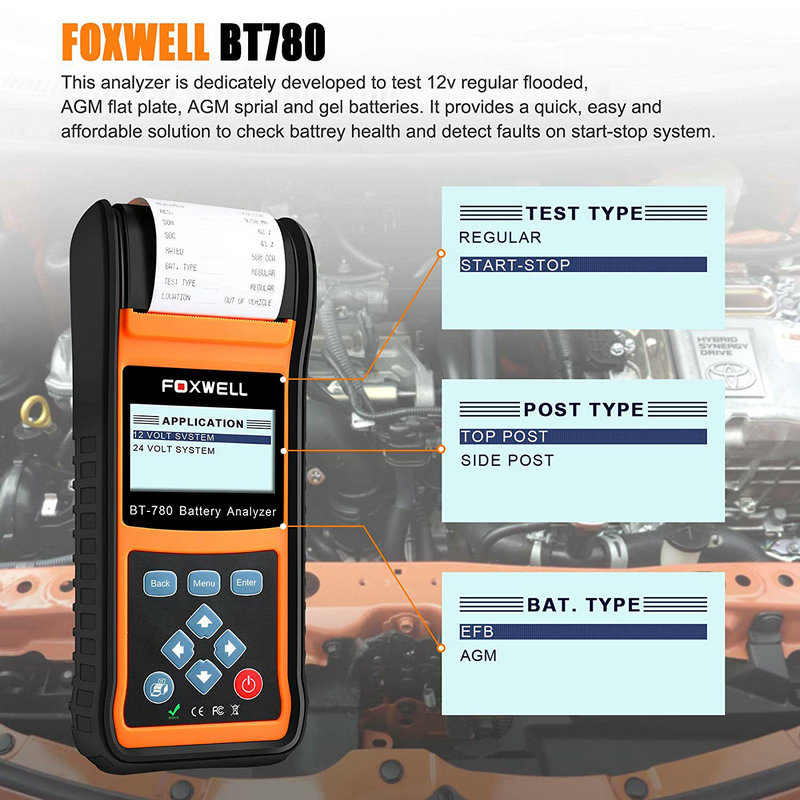 Image 2 - Foxwell BT780 автомобильный 12 В 24 В тестер батареи Встроенный принтер BT 780 авто анализатор батареи AGM гель EFB батареи анализатор-in Тестеры аккумуляторов from Автомобили и мотоциклы on
