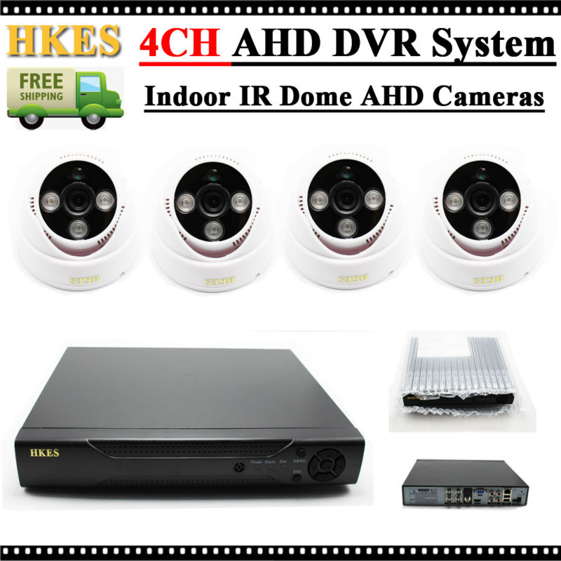 ФОТО HKES Video surveillance kit 1MP AHD 720P Indoor Security Camera System 4Channel HDMI 1080P DVR NVR Array LEDs day/night Camera
