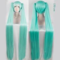 WTB High Quality 150cm long Aquamarine wig VOCALOID Cosplay Wig Hatsune Miku Costume Play Wigs Halloween party Anime Game Hair