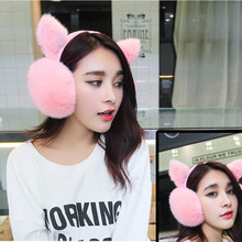 2017 High Quality Women Rabbit Fur Earmuffs Warm Ear Cover Women's Ears Lovely Warm Korean Style Winter Thermal Ear Cover
