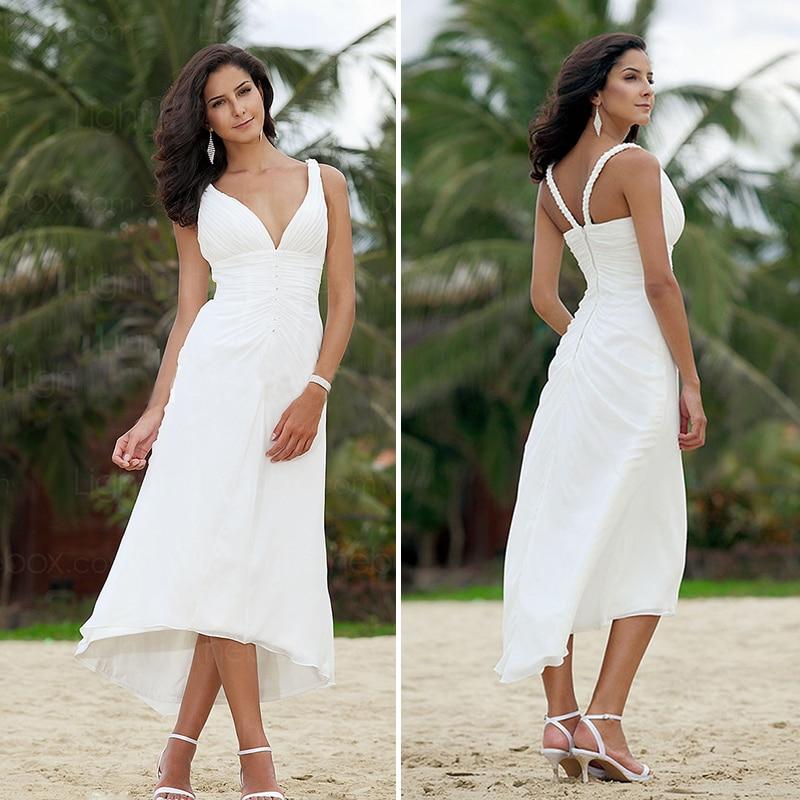 Simple Tea Length Chiffon Beach Wedding Dresses 2016 Empire Pleat