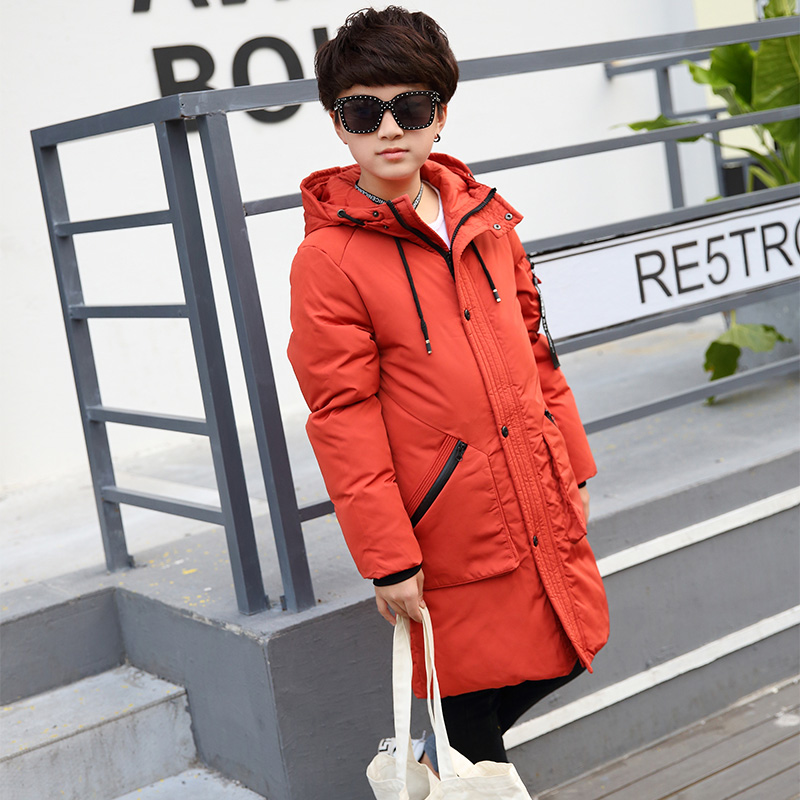 NEW Boy Winter Thickening Down Jacket Children 2017 New Long Section Knees  Hooded Jackets Boys Fashion Down Coats casual 2016 winter jacket for boys warm jackets coats outerwears thick hooded down cotton jackets for children boy winter parkas
