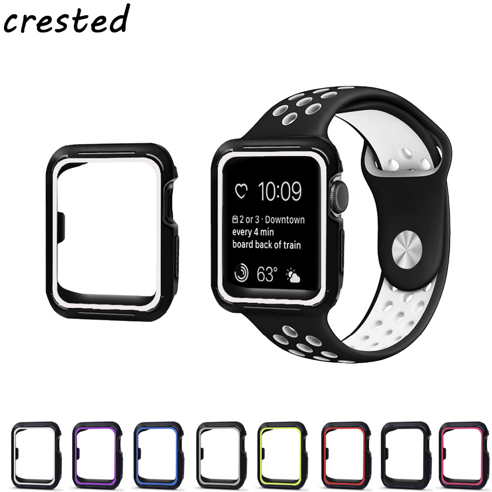 CRESTED sport strap for apple watch band 42mm 38mm silicone bracelet watch wrist belt for iwatch 3/2/1 with Protective Case crested new arrival colorful silicone strap for iwatch 1 2 apple watch nike 42mm rubber sport bracelet wrist band with adapter