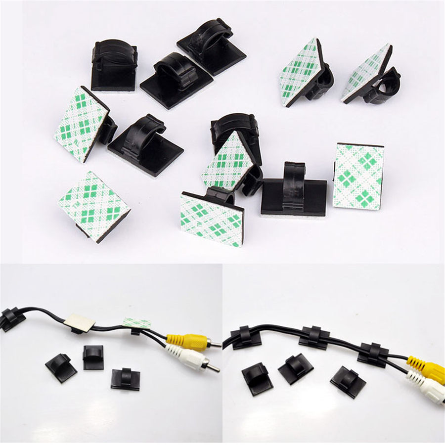 50pcs 20pcs /lot Multifunctional Tie Fixer <font><b>Adhesive</b></font> <font><b>Car</b></font> <font><b>Cable</b></font> <font><b>Clip</b></font> <font><b>Cable</b></font> Winder Drop Wire Holder <font><b>Organizer</b></font> Desk Wall Cord Clam image