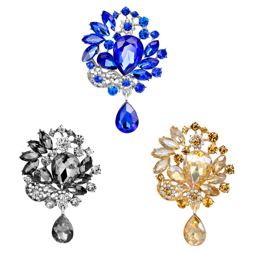 Hot Sale Vintage Brooches Elegant Design Six Color Big Size Brooch Rhinestone White K color Jewelry Brooches For Women