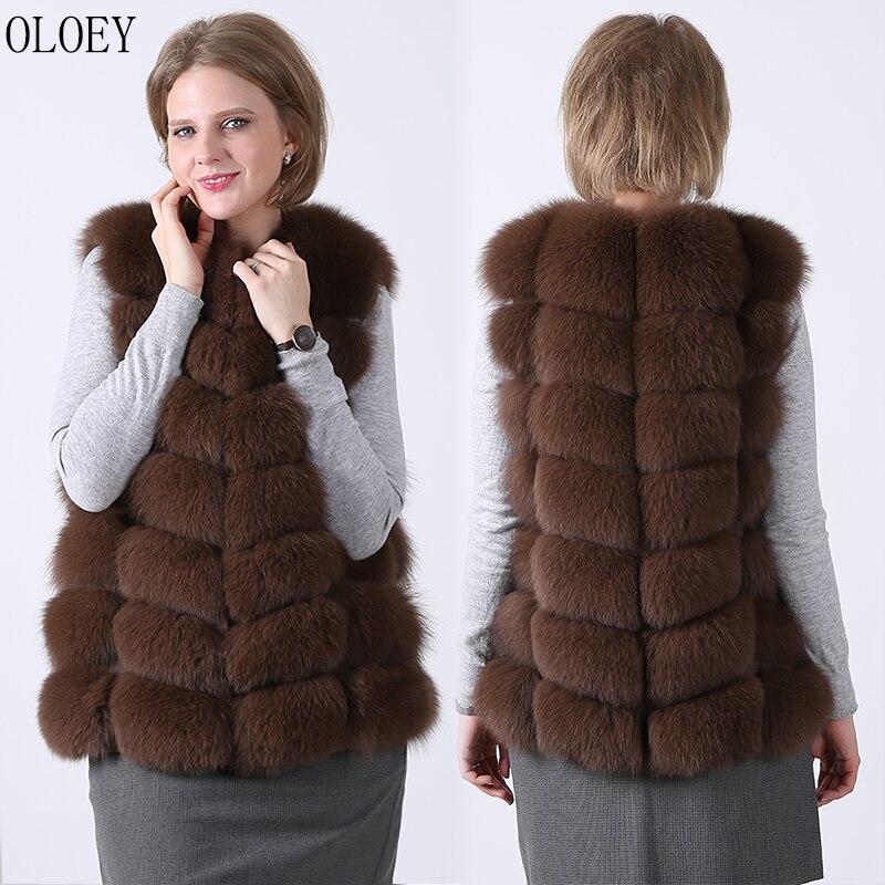 New female 100% natural fox fur vest long waistcoat women