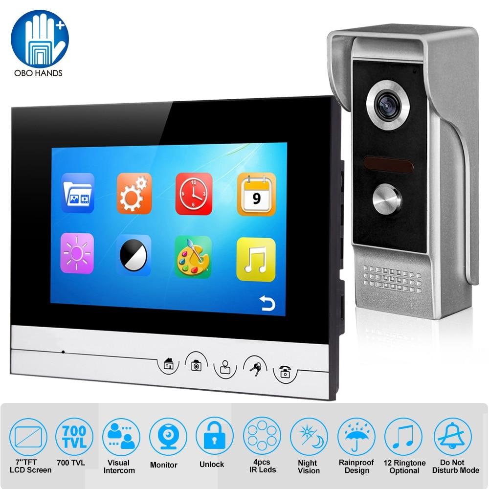 Wired Video Intercom 7 inch Waterproof Video Doorbell Door Phone Infrared Night Vision 12 Ringtones for Home Door Entry System