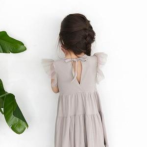 Image 5 - New 2020 Flying Sleeve Kids Summer Dress for Girls Dress Toddler Midi Dress Mesh Patchwork Baby Princess Dress Cotton Lace,#3933