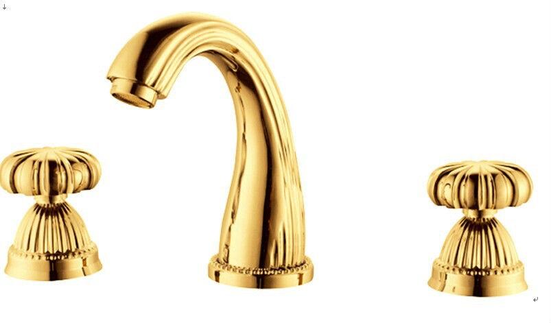 8 широко распространенный кран для раковины Смеситель золотого цвета 3 шт Новый