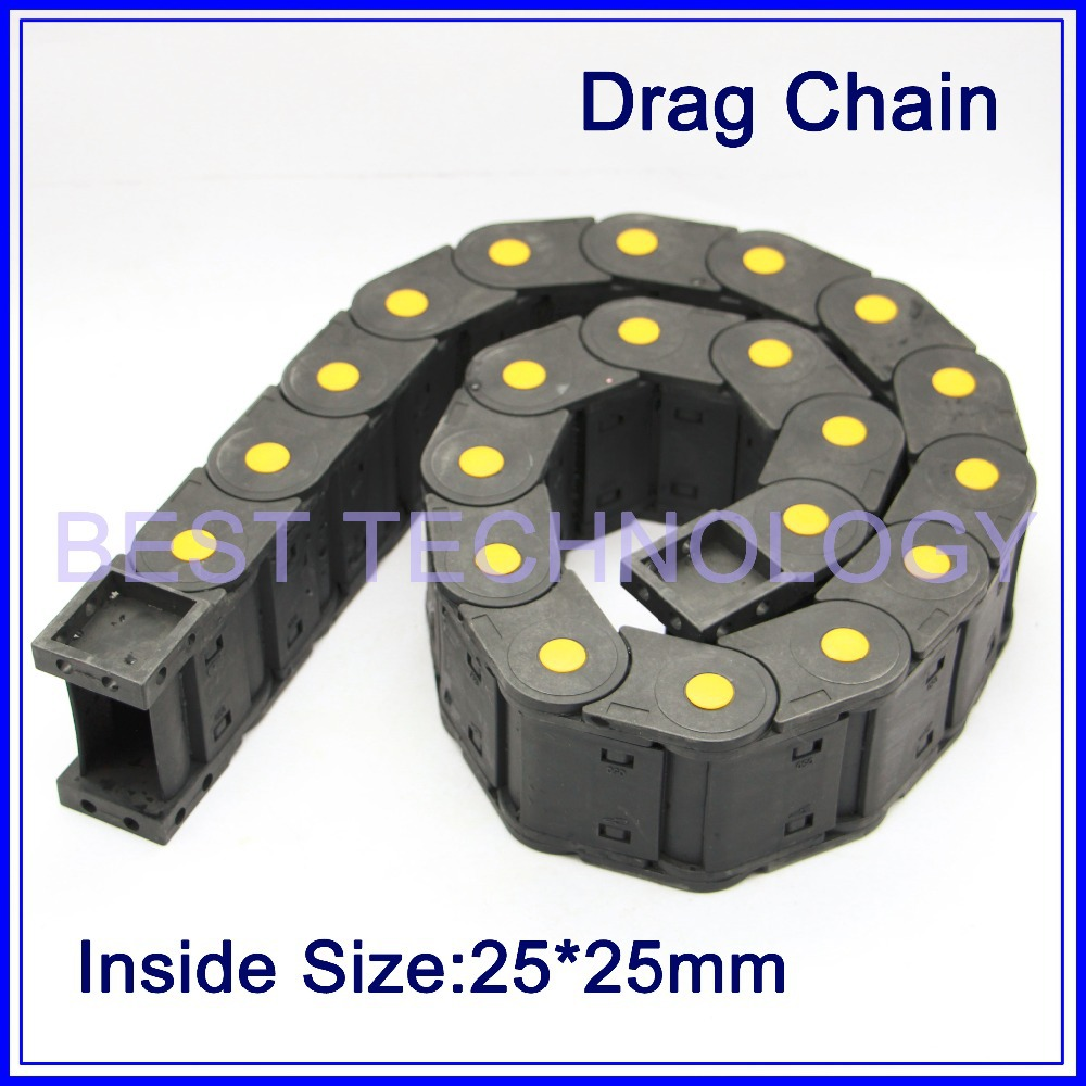 цена на Series 25 x 25mm 38mm 50mm 57mm 77mm 103mm length L1000mm Nylon Drag Chain Wire Carrier with end connectors plastic towline !