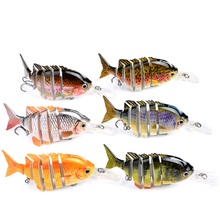 HiUmi 1pcs 10cm 13.67g New design 6 Sections Fishing lure Swim Bait 2/0 Hook fishing tackle 6 color Fishing bait HS012