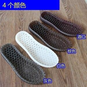 Image 4 - Solas de borracha outono inverno ganchos solas de sapatos de cristal transparente não escorregar tendão inferior chinelos sandálias mão de malha de lã