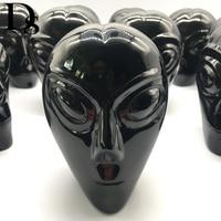 DS Natural Black Obsidian Alien Skull Hand Carved Quartz Crystal Skull Figurine Meditation Healing Crystal Stone Home Decoration