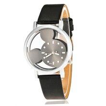 Mickey Mouse Girls Watches Quartz Transparent Hollow Dial Wristwatches Cartoon