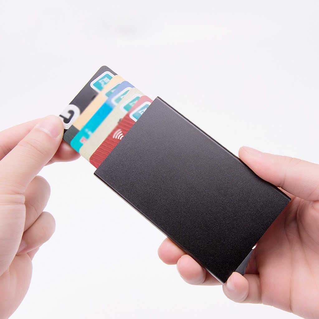 Aelicy High-grade Alumina Mult-Titular do cartão de Cor Sólida Pop-up Automático Anti-roubo de Cartão de Banco mini caixa de Cartão de Visita Caso