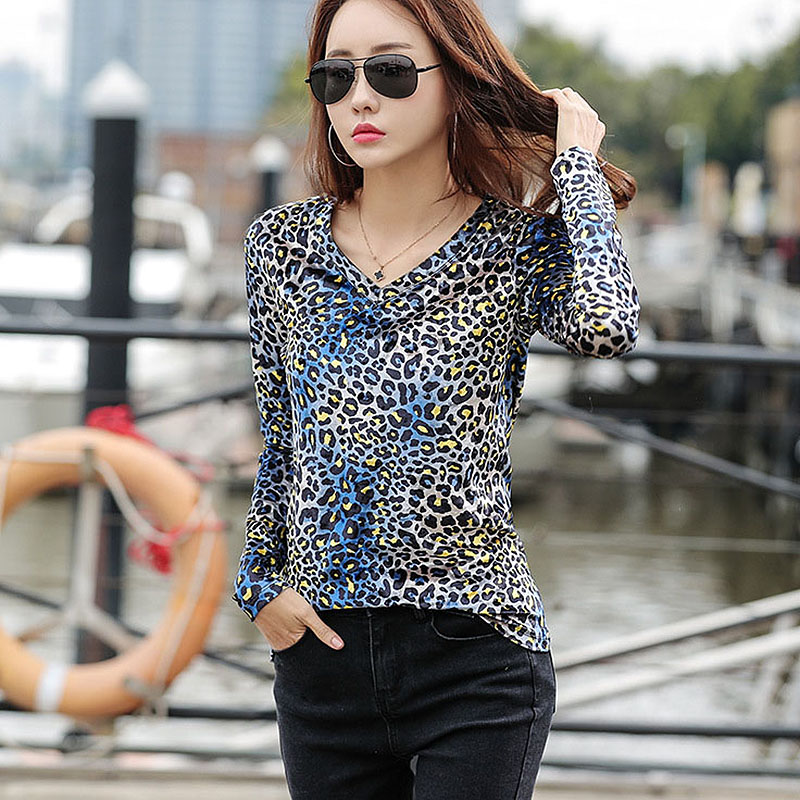 BOBOKATEER V-neck T Shirt Women Tops Leopard Long Sleeve T-shirt Women Tshirt Streetwear Tee Shirt Femme Camiseta Mujer 2019