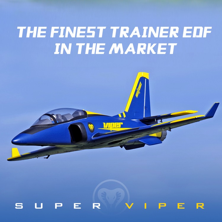 FMS 70mm Ducted Fan EDF Super Viper Jet Trainer Blue 6S 6CH with Retracts Flaps EPO