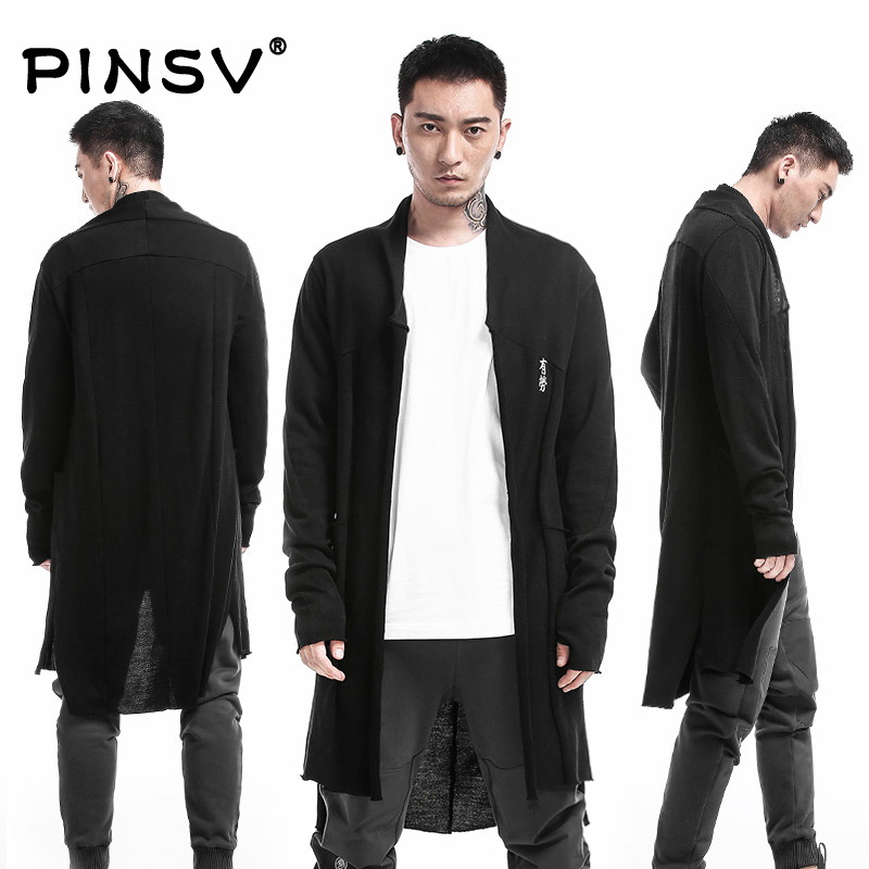 PINSV Men Clothing Chinese Style High Quality 35%Wool Long Trench Overcoat Men Outerwear Brand Clothing Jacket Men Trench Coat