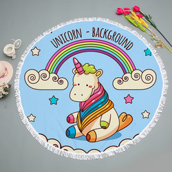 Unicorn Printed 150cm Cute Round Large Beach Towel for Adults Kids Microfiber Tassel Tapestry Wall Hanging Blankets Yoga Mats
