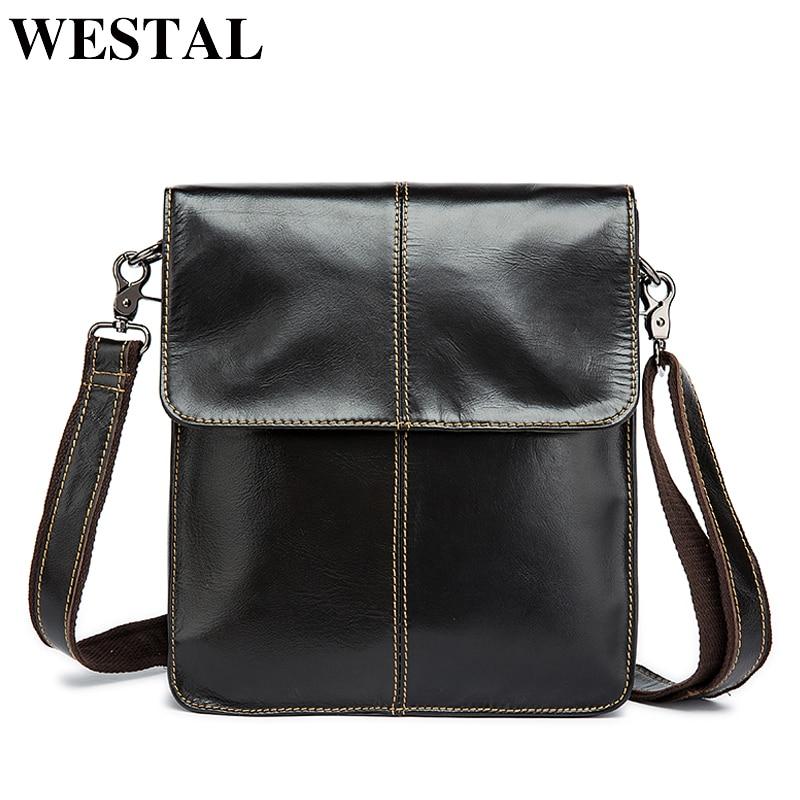 WESTAL Messenger Bag Lelaki Shoulder bag Genuine Leather Small male - Beg tangan