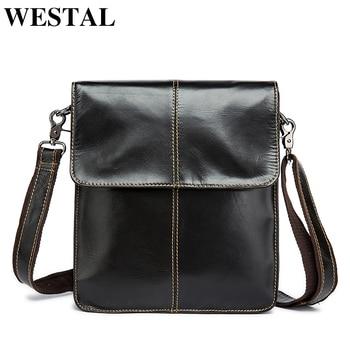 3ef186e93e09 Westal Простой Натуральная кожа Мужская сумка человек сумка мужчины малого  бизнеса сумки мужской вестник кожаные сумки кофе подарок мужчине .