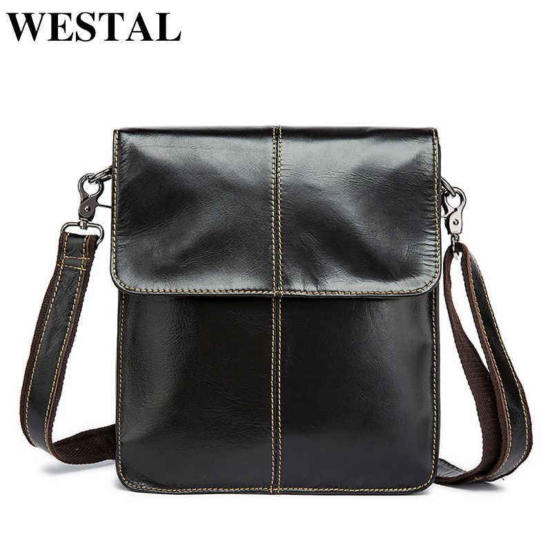 6db054ff5441 Westal Простой Натуральная кожа Мужская сумка человек сумка мужчины малого  бизнеса сумки мужской вестник кожаные сумки