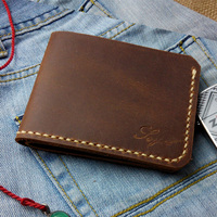 Handwork Crazy Horse Cow Leather Handmade Mens Wallet Top Quality Handmade Wallets Genuine Leather Short Men Wallets Handmade
