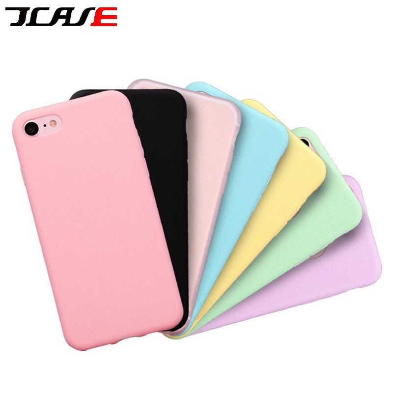 Couleur bonbon étui pour téléphone mat Pour iPhone 6s Plus 6 7 8 5 5s SE Pour iPhone XS MAX X XR Simple Uni Doux TPU Couverture Arrière