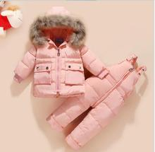 Russia Winter warm down jacket for baby girl clothes child clothing sets boys parka real fur coat kids snow wear infant overcoat kids clothing 2017 winter boys warm clothes child cartoon padded coat trousers suits girl sportswear high quality babys jacket