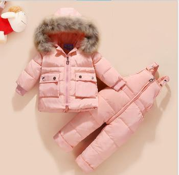 Russia Winter warm down jacket for baby girl clothes child clothing sets boys parka real fur coat kids snow wear infant overcoat
