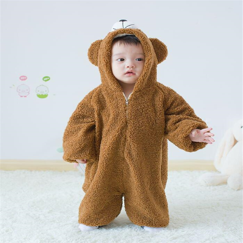 Baby Round Neck Long Sleeve Solid Color Romper Gorilla Monkey Crawling Clothes