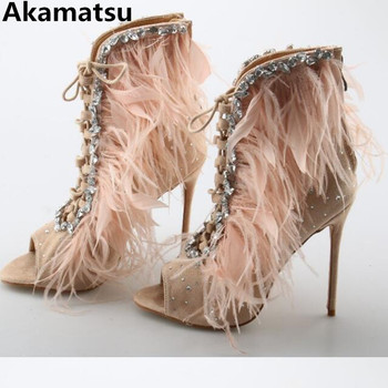 Akamatsu sandalias mujer 2018 feathers crystal embellished stiletto supper high heels Open Toe Gladiator Sandals shoes woman