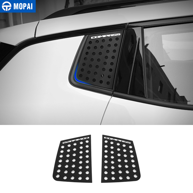 MOPAI Car Exterior Rear Window Triangle Glass Decoration Cover Trim Stickers for Jeep Compass 2017 Up Car Accessories Styling mopai new arrival car exterior rear triangle glass decoration cover stickers for jeep compass 2017 up car styling