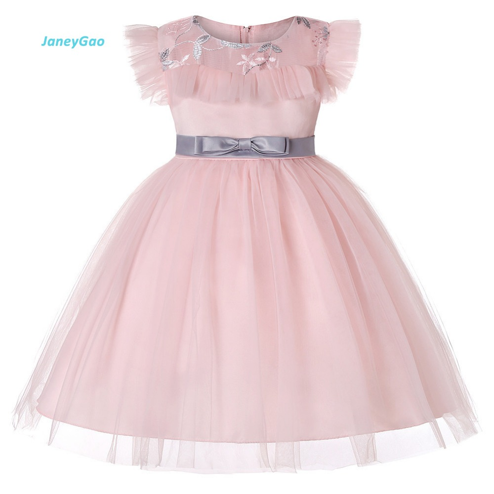 JaneyGao   Flower     Girl     Dresses   For Wedding Party   Girl   Performance Gown Elegant Pink With Bow Children Formal   Dresses   Birthday Gift