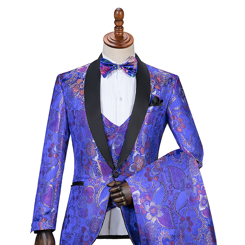 PYJTRL 2018 New Tide Men Fashion Blue Red Rose Floral Print Casual Wedding Modern Suits Prom