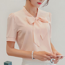 2019 Women Short Sleeve Korean style Blouse Female Chiffon bow-knot Casual Solid Colours La
