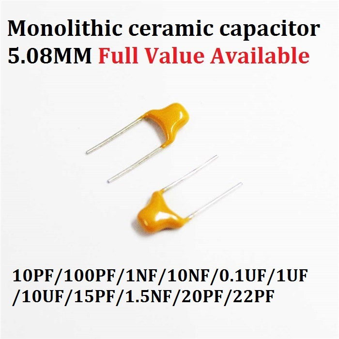 50PCS Monolithic Multilayer Ceramic Capacitor 100/101/102/103/104/105/106/150/152/200/220/ 50V 10PF/100PF/1NF/10NF/0.1UF/ 5.08MM