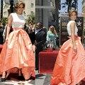 Jennifer Lopez alto Bajo Vestidos de las Celebridades Blanco Superior Con Balón vestido de Satén Falda Pary Vestidos de Noche de Baile de Famosos 2016