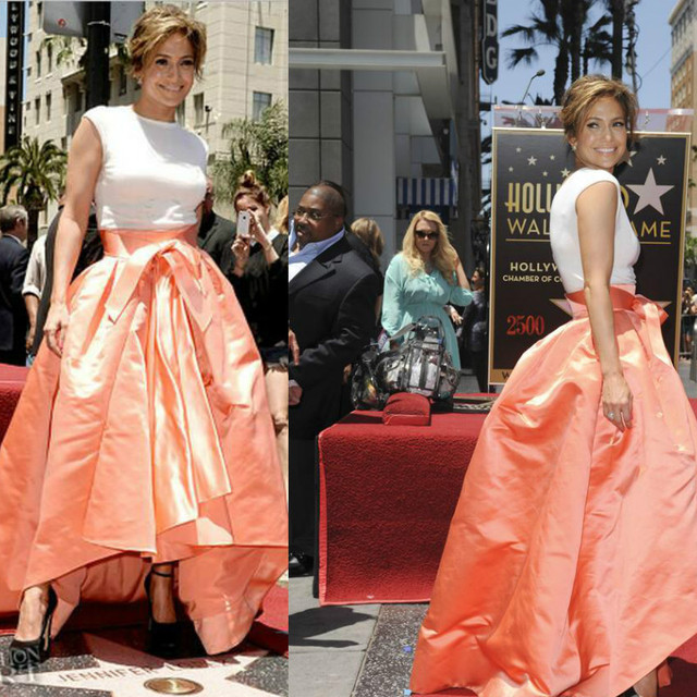 Jennifer Lopez High Low Celebrity Dresses White Top With Ball Gown