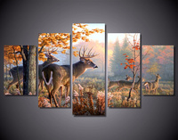 5Pieces Canvas Art Wall Painting Christmas Decorative Animal Deer Modular Picture For Living Room Home Decor