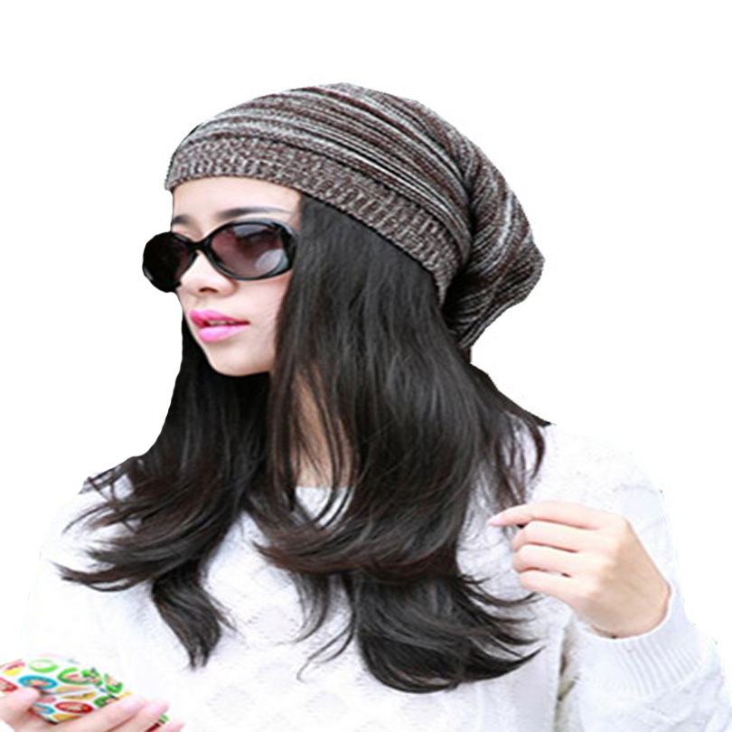 Winter Men Beanies Knitting Skullies Beret Fold Stripes Baggy Travel Unisex Ski Hats Warm Woolen Cap Women Oversized Caps M004 skullies
