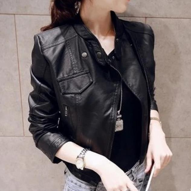 PU   leather   motorcycle jacket female short outerwear plus size stand collar outerwear