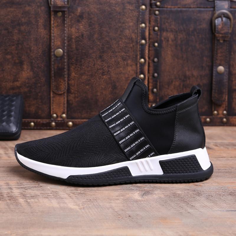 Cuero De Negro Zapatos Transpirable Mycolen Para Los Fondo Otoño Invierno Grueso Caliente Alto Genuino Casual Hombre Hombres Moda Lona Del Top 8w8RvrqE5