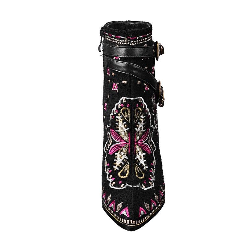 Casual Invierno Cuero Tobillo De Negro Hebilla Botas Retro Toe Punta Zapatos Mujeres Super Genuino Mujer Vtota Vaca Tacones 4xSZvZ